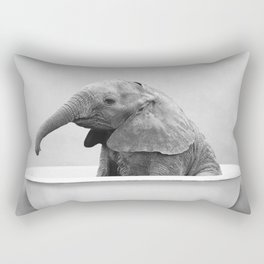 Baby Elephant in a Vintage Bathtub (bw) Rectangular Pillow