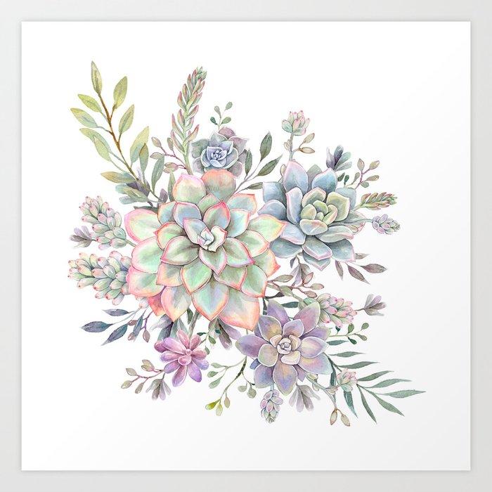 succulent watercolor 8 Kunstdrucke