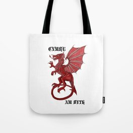 cymru am byth text Tote Bag