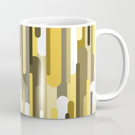Flowing drops of paint in gold yellow, abstract liquid flow, golden background Coffee Mug