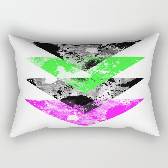 Descent - Geometric Abstract In Black, Green And Pink Rectangular Pillow