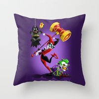 harley quinn Throw Pillows featuring Harley Quinn by The Art of Eileen Marie