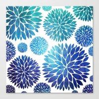 Ocean Flowers Watercolor Canvas Print