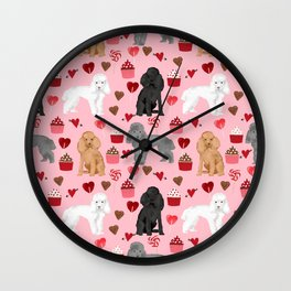 Toy Poodles mixed coat valentines day cupcakes love hearts dog breed gifts pet portraits must haves Wall Clock