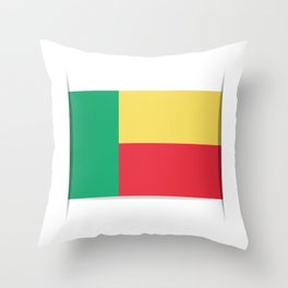 Flag of Benin. The slit in the paper with shadows.  Throw Pillow