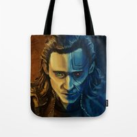 loki Tote Bags featuring Loki by Sara Cooley