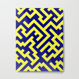 Electric Yellow and Navy Blue Diagonal Labyrinth Metal Print