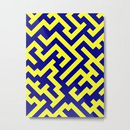Electric Yellow and Navy Blue Diagonal Labyrinth Metal Print