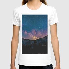 Milky Way Mountains Deep Pastels T-shirt