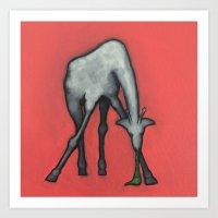 Puking Giraffe, Get it up! Art Print