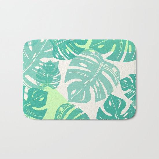 Linocut Monstera Green Bath Mat