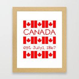 Canada Day Maple Leaf Pattern Canadian Flag Framed Art Print