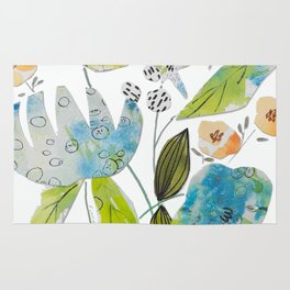 Blue Bouquet Collage Rug
