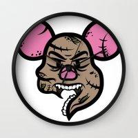 piglet Wall Clocks featuring Zombie Piglet by Kojó Tamás