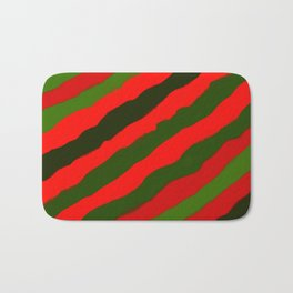 Merry Red Green Holiday Stripes Bath Mat