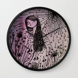garden girl Wall Clock