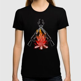 Wild and Free Campfire Army Soldier Military T Shirt T-shirt