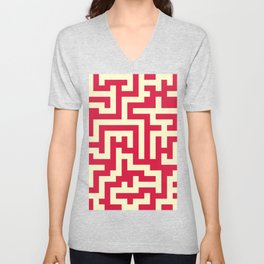 Cream Yellow and Crimson Red Labyrinth Unisex V-Neck