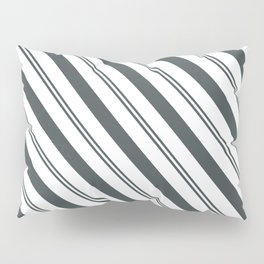 PPG Night Watch Pewter Green  and Dark Green Stripes Angled Lines Pillow Sham