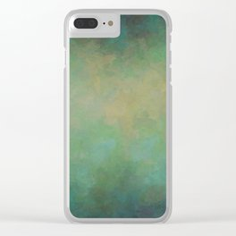 Abstract Soft Watercolor Gradient Ombre Blend 4 Yellow Blue and Green Clear iPhone Case