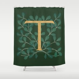 Forest Leaves Letter T 2018 Shower Curtain