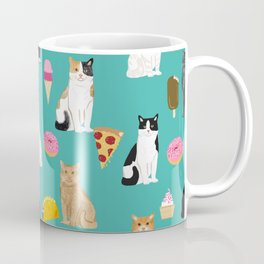 Cat breeds junk foods ice cream pizza tacos donuts purritos feline fans gifts Coffee Mug