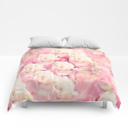 White and pink flowers in summer romance - vintage style Comforters