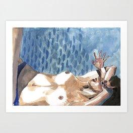 SunBathing in the blue baby pool Art Print