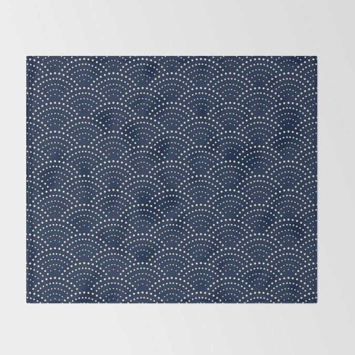 Japanese Blue Wave Seigaiha Indigo Super Moon Pattern Decke