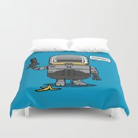 robocop Duvet Covers featuring Despicable Law Enforcer by pigboom el crapo