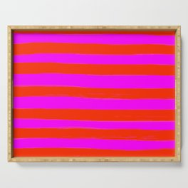 Sweet Stripes in Pink and Red Line Art #decor #society6 #buyart Serving Tray
