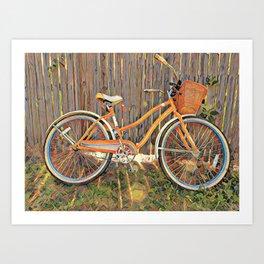 Nostalgic Bike with Basket Art Print