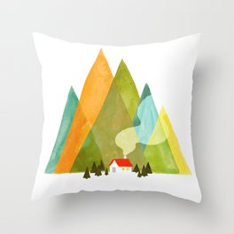 House at the foot of the mountains Throw Pillow