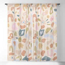 Abstract Paper Cuts Sheer Curtain