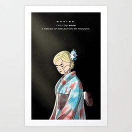 Musing Defination Artwork with a Kimono Cyborg Female Anime Character Art Print