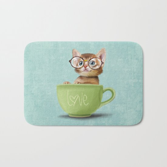 Kitten with glasses Bath Mat