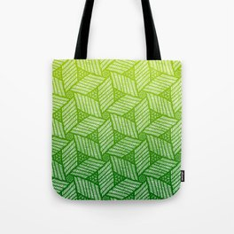 Japanese style wood carving pattern in green Tote Bag