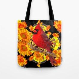 RED CARDINAL SUNFLOWERS BLACK ART Tote Bag