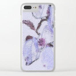 Dogwood Tree Flowers (stained glass-blue) Clear iPhone Case