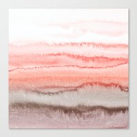 coral Canvas Prints featuring WITHIN THE TIDES CORAL DAWN by Monika Strigel