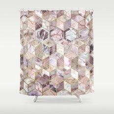 Blush Quartz Honeycomb Shower Curtain