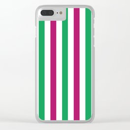 Berry pink, green and white vertical stripes Clear iPhone Case