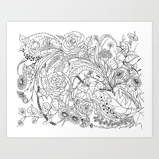 Bouquet of various flowers Art Print