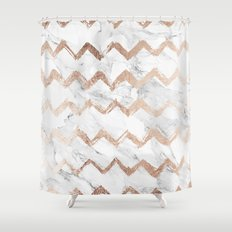 Chic faux rose gold chevron white marble pattern Shower Curtain