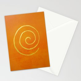 Infinity Bright Orange With Gold Abstract Modern Art Painting Stationery Cards