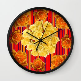 DECORATIVE YELLOW ROSES RED STRIPE PATTERN COLLAGE Wall Clock