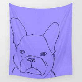 Sketched Frenchie (Blues) Wall Tapestry