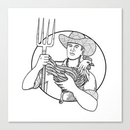 Farmer Holding Hen Pitchfork Zentagle Canvas Print