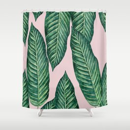 Green Banana Leaves Pink #society6 Shower Curtain