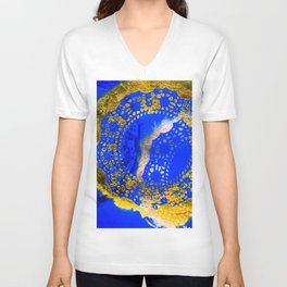 Royal Blue and Gold Abstract Lace Design Unisex V-Neck